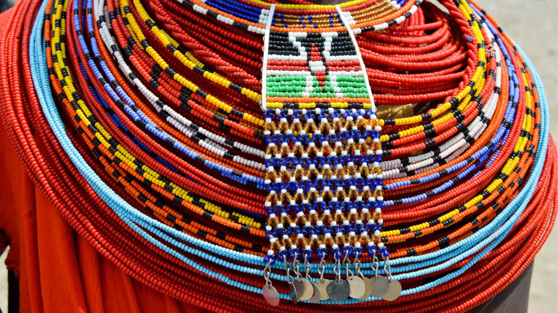 Traditional beads worn by a member of the Samburu Tribe in Kenya.